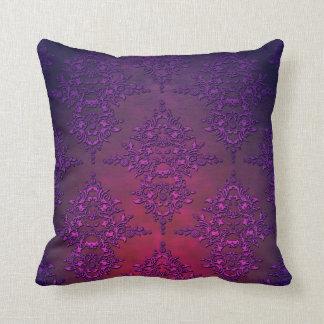 Vibrant Purple Orange Damask Pattern Throw Pillow