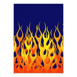 Vibrant Racing Flames on Navy Blue 13 Cm X 18 Cm Invitation Card