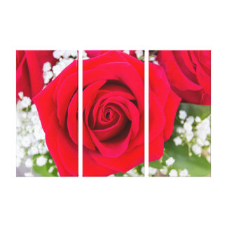 Vibrant Red Rose Triptych Wall Art