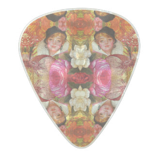 Vibrant Vintage Woman Abstract Pearl Celluloid Guitar Pick