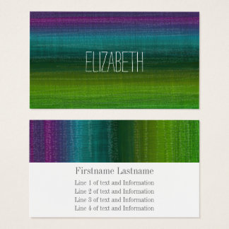 Vibrant Watercolor Abstract Stripes Custom Name Business Card
