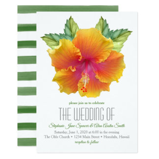 Vibrantly Colored Hibiscus Wedding Invitation