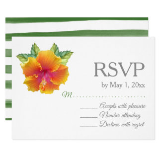 Vibrantly Coloured Hibiscus Wedding RSVP Card