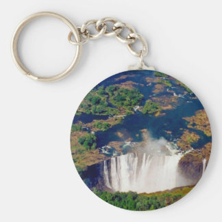 victoria falls aerial basic round button key ring