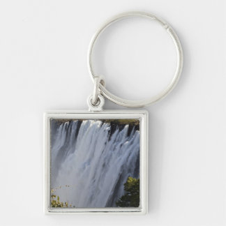 Victoria Falls, Zambesi River, Zambia. Silver-Colored Square Key Ring