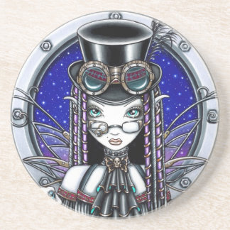 """Victoria"" Steam Punk Fairy Sandstone Coaster"