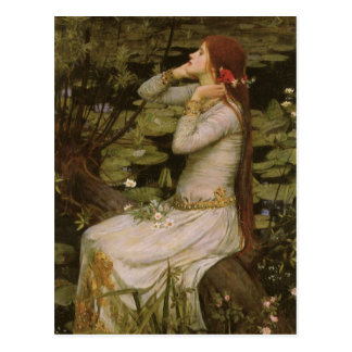 Victorian Art, Ophelia by the Pond by Waterhouse Postcard