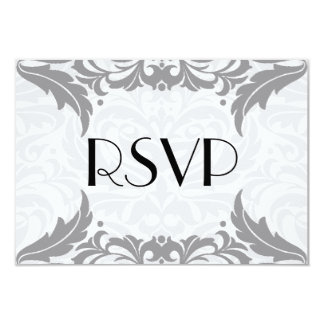 Victorian Baroque Grey Flourish Rsvp 9 Cm X 13 Cm Invitation Card