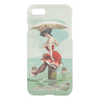 Victorian Bathing Beauty in Red Suit Parasol iPhone 7 Case