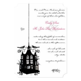 "Victorian Bird Cage Pink & Black Wedding Invite 5"" X 7"" Invitation Card"