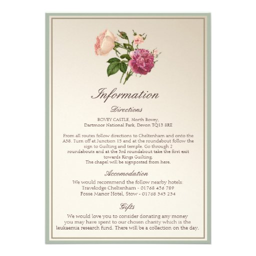 Victorian Botanical Style Wedding Information Card Personalized Announcement