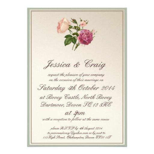 Victorian Botanical Style Wedding Invitation