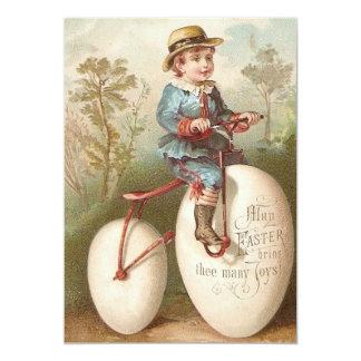 Victorian Boy Bicycle Easter Egg 13 Cm X 18 Cm Invitation Card