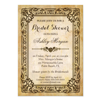 Victorian Bridal Shower - Vintage Antique Frame 13 Cm X 18 Cm Invitation Card