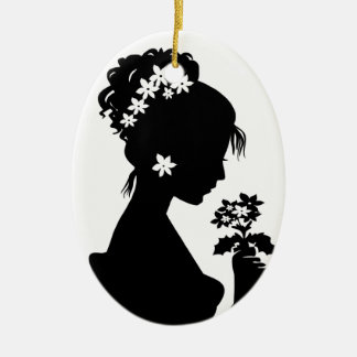 Victorian Cameo Silhouette Christmas Ornament