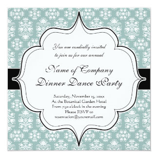 Victorian Celadon Green Damask 13 Cm X 13 Cm Square Invitation Card