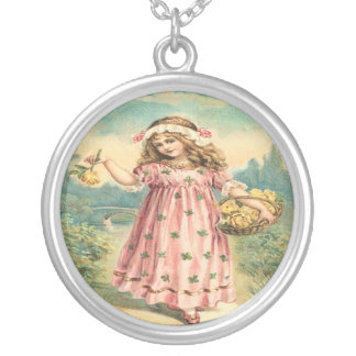 Victorian Child Clover Sterling Silver Necklace