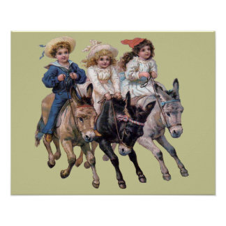 Victorian Children and Horses Poster