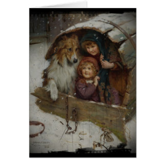 Victorian Children in Doghouse Card