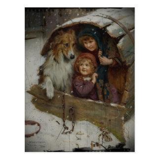 Victorian Children in Doghouse Postcard