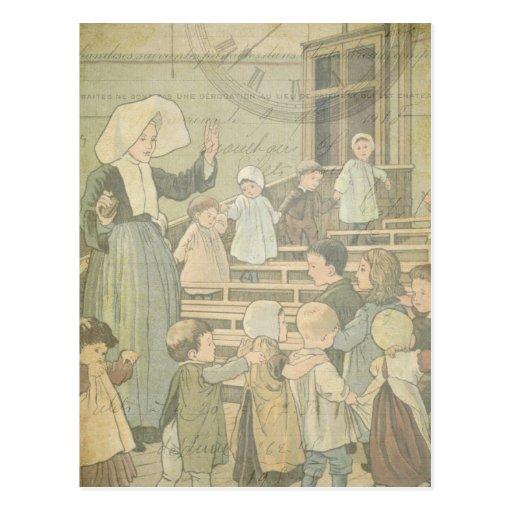 Victorian Children School Classroom Vintage Watch Post Card