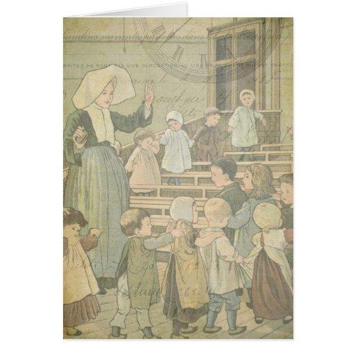 Victorian Children School Vintage Watch Thank You Card