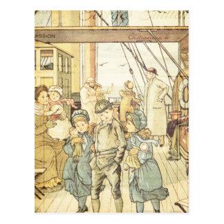 Victorian Children Storybook Vintage Ship Collage Post Card
