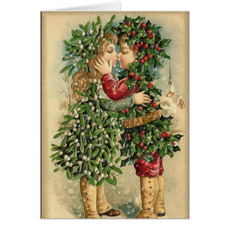 Victorian Christmas Kiss Retro Vintage Holiday Card