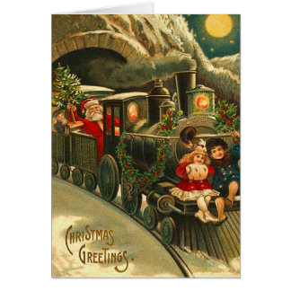 Victorian Christmas Santa Train Greeting Card