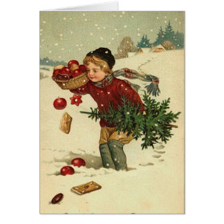 Victorian Christmas Vintage Retro Art Card