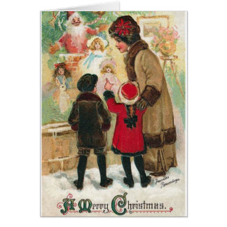 Victorian Christmas Window Shopping Card