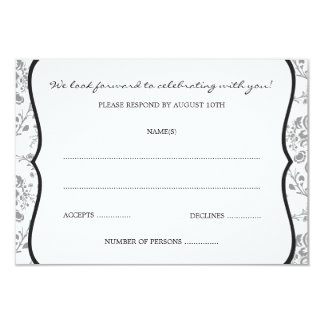 Victorian Damask (Black) RSVP or Response Cards 9 Cm X 13 Cm Invitation Card