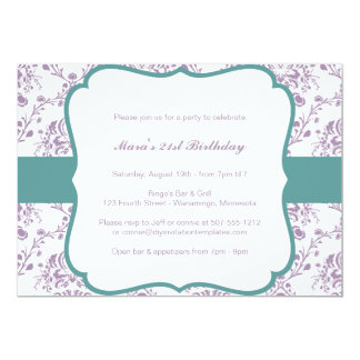 Victorian Damask (Purple & Teal) 13 Cm X 18 Cm Invitation Card