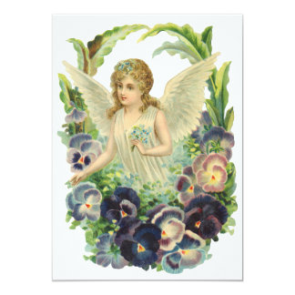 Victorian Easter Angel with Purple Pansy Flowers Card
