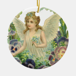 Victorian Easter Angel with Purple Pansy Flowers Round Ceramic Decoration
