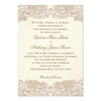 Victorian Floral Lace Design Wedding 13 Cm X 18 Cm Invitation Card