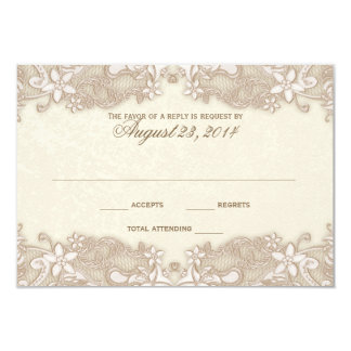 Victorian Floral Lace Response Card 9 Cm X 13 Cm Invitation Card