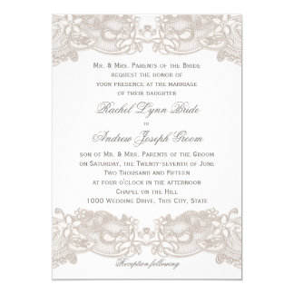 Victorian Floral Lace Taupe and White 13 Cm X 18 Cm Invitation Card