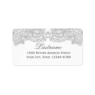 Victorian Floral Silver Gray Label