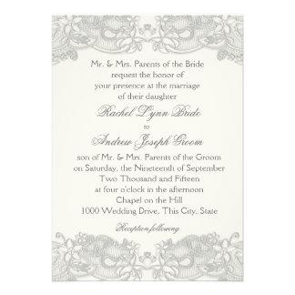 Victorian Floral Silver Gray Lace Personalized Invitations