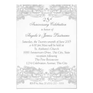 Victorian Floral Silver Wedding Anniversary 13 Cm X 18 Cm Invitation Card
