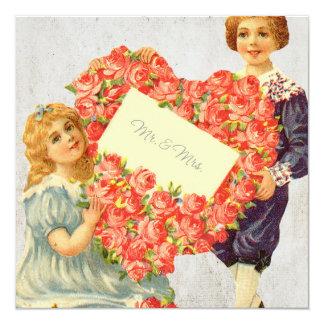 Victorian Floral Wedding Print 13 Cm X 13 Cm Square Invitation Card