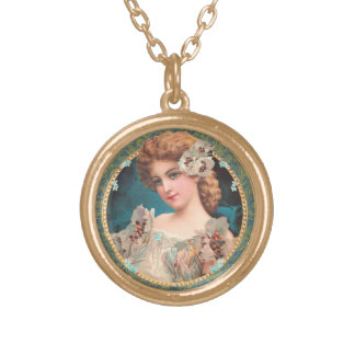 Victorian Flower Girl Gold Plated Necklace