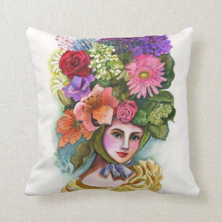 Victorian Flower Lady Decorative Pillow