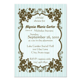 Victorian Garden/ blue stripe 5x7 Paper Invitation Card