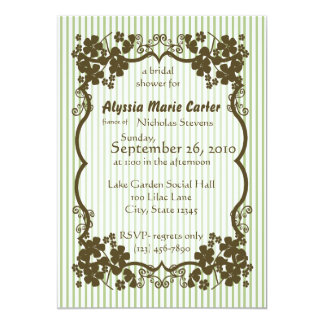 Victorian Garden/ green stripe 5x7 Paper Invitation Card