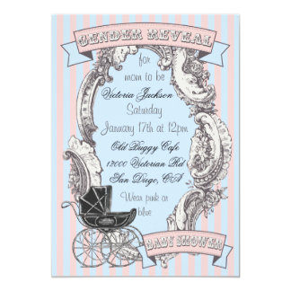Victorian Gender Reveal Baby Shower Invitations