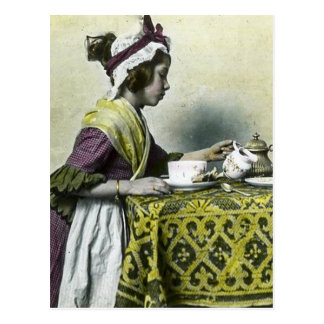 Victorian Girl Having Tea Magic Lantern Vintage Postcard