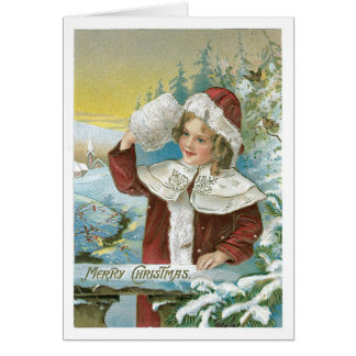 Victorian Girl - Merry Christmas Greeting Card