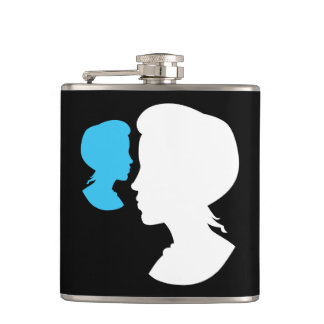 Victorian Girl Silhouette Cameo Hip Flask